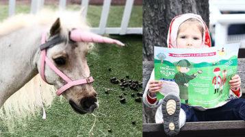 petite fille et licorne pendant les Dimanches au Galop